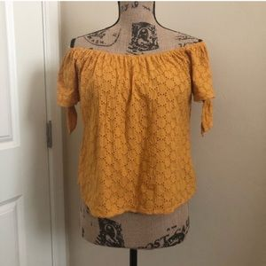 Universal Thread Yellow Eyelet Off Shoulder Top 💛